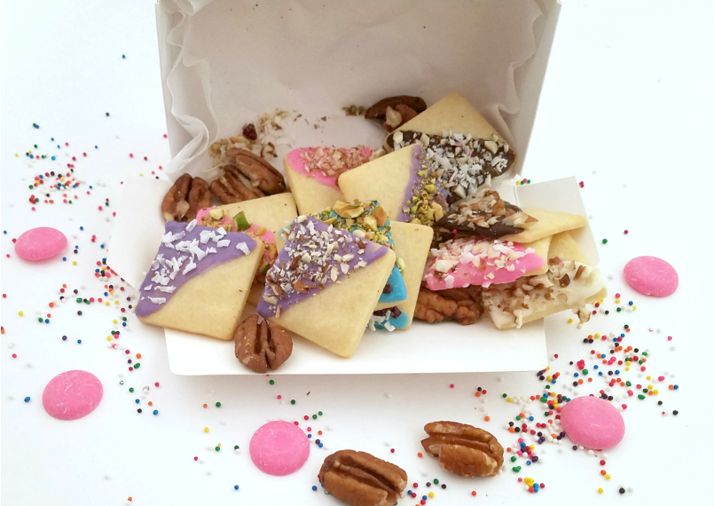Vegan Decorated Shortbread Cookies in A Gift Box